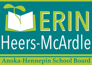The sign graphic for Erin Heers-McArdle